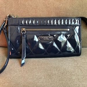 Coach Women's Navy Patent Quilted Wristlet